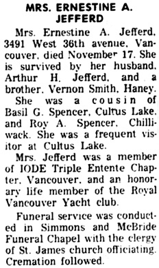 The Chilliwack Progress, November 29, 1960, page 5, column 7.