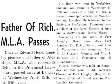 Richmond Review (Richmond, British Columbia); May 4, 1949, page 1, column 2.