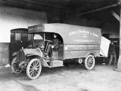 Federal Motor Company truck; James Thomson and Sons, 1923, British Columbia Archives, C-02436; http://search.bcarchives.gov.bc.ca/federal-motor-company-truck-james-thomson-and-sons. [A copy of this photograph appears in Vancouver World, August 4, 1923, page 17, columns 6-7.]