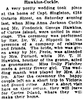 Vancouver Daily World, May 16, 1919, page 7, column 4.