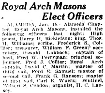 Oakland Tribune (Oakland, California), January 19, 1919, page 4, column 2.