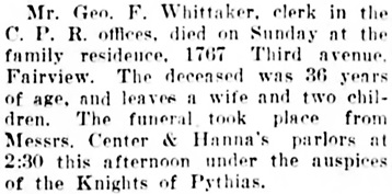 Vancouver Daily World, August 22, 1905, page 5, column 3.