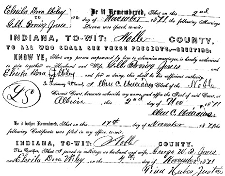 """Indiana Marriages, 1811-2007,"" database with images, FamilySearch (https://familysearch.org/ark:/61903/1:1:VRXD-7J4 : 10 December 2017), George W I Jones and Elseila Dora Wiley, 04 Nov 1871; citing Noble, Indiana, United States, various county clerk offices, Indiana; FHL microfilm 1,704,900."