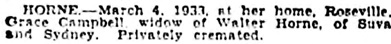 The Sydney Morning Herald (New South Wales), March 7, 1933, page 8, column 1.