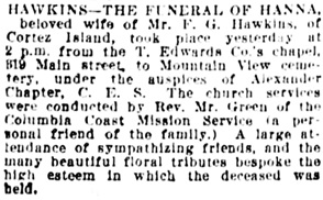 Vancouver Daily World, April 14, 1920, page 18, column 1.