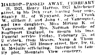 Vancouver Daily World, February 23, 1921, page 16, column 1.