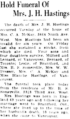 Vancouver Daily World, November 1, 1922, page 9, column 4.