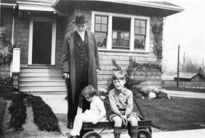 Hugh Myddleton Wood and his grandchildren in front of his house at 1091 East 10th Avenue, 1935, Vancouver City Archives, Port P248, http://searcharchives.vancouver.ca/hugh-myddleton-wood-and-his-grandchildren-in-front-of-his-house-at-1091-east-10th-avenue [Photograph shows Lulu Elizabeth Ann Woodruff and George Carlton Ward.]