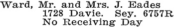 Vancouver Social Register and Club Directory, 1914, page 70.