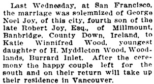 Society, Vancouver Daily World, April 11, 1913, page 9, column 4.