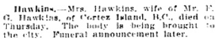 Vancouver Daily World, February 15, 1913, page 27, column 2.