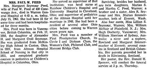 Warren Times Mirror (Warren, Pennsylvania), July 15, 1963, page 8, column 2.
