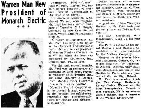 Warren Times Mirror (Warren, Pennsylvania), February 11, 1958, page 5, columns 3-4.