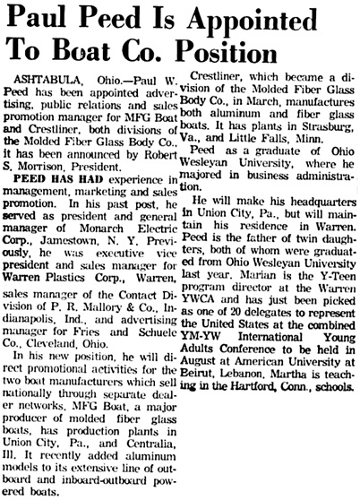 Warren Times Mirror (Warren, Pennsylvania), May 1, 1964, page 12, columns 1-2.