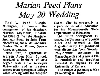 Paul W. Peed, Warren Times-Mirror and Observer (Warren, Pennsylvania), November 6, 1971, page 25, columns 4-5.
