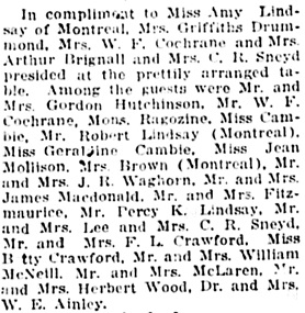 Personal Notes; Social Events; Vancouver Daily World, May 12, 1919, page 6, column 1.