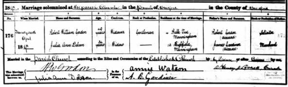 West Yorkshire Archive Service; Wakefield, Yorkshire, England; Yorkshire Parish Records; Old Reference Number: 40D90/1/3/139; New Reference Number: BDP14. Ancestry.com. West Yorkshire, England, Church of England Marriages and Banns, 1813-1935 [database on-line]. Lehi, UT, USA: Ancestry.com Operations, Inc., 2011. Name: Robert William Gordon; Marriage Age: 49; Event Type: Marriage; Birth Year: abt 1844; Marriage Date: 16 Apr 1893; Marriage Place: Bradford, St Peter (Bradford Cathedral), Yorkshire, England; Parish: Bradford, St Peter (Bradford Cathedral); Father: Robert Gordon; Spouse: Julia Ann Dobson.