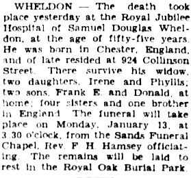 Victoria Daily Colonist, January 11, 1930, page 5, column 4; http://archive.org/stream/dailycolonist130uvic_8#page/n5/mode/1up.