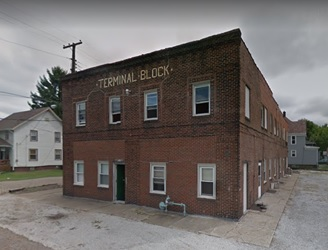 Terminal Block, 3826 Mahoning Road NE, Canton, Ohio; Google Streets, searched March 30, 2018; image dated September 2011.