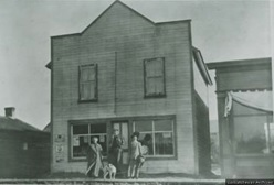 The Broadview Express newspaper office with Mrs. Hawkes on crutches; Saskatchewan Archives; Reference Number: R-A18818; http://www.saskarchives.com/sasksettlement/includes/imagepreview.php?m=photograph&f=R-A18818.jpg&s=3.