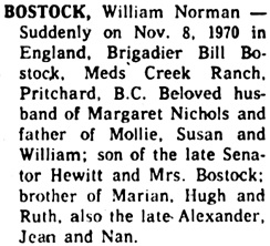 "The Ottawa Journal, November 10, 1970, page 37, column 3. [should say ""Ned's Creek Ranch""]."