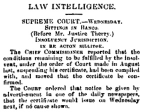 Law Intelligence, Empire (Sydney, New South Wales), June 17, 1852, page 3; https://trove.nla.gov.au/newspaper/article/60135603.