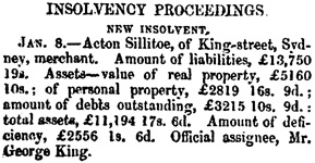 Insolvency Proceedings, The Maitland Mercury and Hunter River General Advertiser (New South Wales); January 11, 1851, page 2; https://trove.nla.gov.au/newspaper/article/686721.