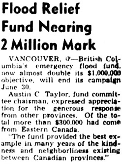Nanaimo Daily News, June 28, 1948, page 1, column 8.