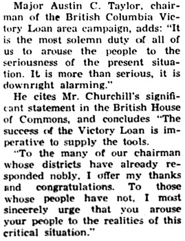 """Most Solemn Duty to Arouse,"" Nanaimo Daily News, June 14, 1941, page 1, column 3 [portion of article]"