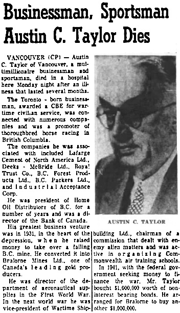 Nanaimo Daily News, November 2, 1965, page 5, columns 4-5.