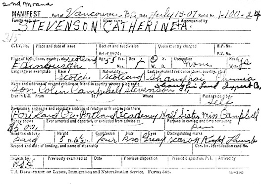 """Vermont, St. Albans Canadian Border Crossings, 1895-1954,"" database with images, FamilySearch (https://familysearch.org/ark:/61903/1:1:QKQ9-71LG : 16 March 2018), Catherine A Stevenson, 1895-1924; citing M1461, Soundex Index to Canadian Border Entries through the St. Albans, Vermont, District, 1895-1924, 339, NARA microfilm publications M1461, M1463, M1464, and M1465 (Washington D.C.: National Archives and Records Administration, publication year); FHL microfilm 1,473,139."