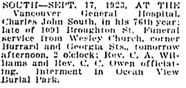 Vancouver Daily World, September 18, 1923, page 10, column 1.