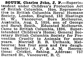 Charles John South, Who's Who and Why, 1916, page 762; https://archive.org/stream/northernwhoswhob01park#page/762/mode/1up.
