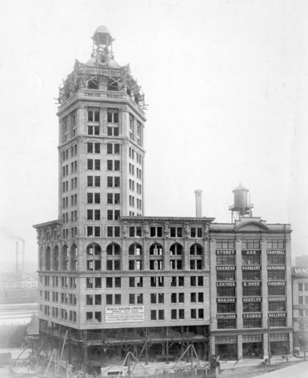 Construction of the World Building at 500 Beatty Street, 1912; Vancouver City Archives, CVA 1477-5; http://searcharchives.vancouver.ca/construction-of-world-building-at-500-beatty-street.