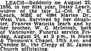 Daisy Leach, death notice, Vancouver Sun, August 23, 1956, page 32, column 3; https://news.google.com/newspapers?id=L31lAAAAIBAJ&sjid=8okNAAAAIBAJ&pg=1887%2C4262496.