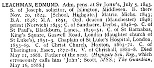 Alumni Cantabrigienses; a Biographical List of all Known Students, Graduates and Holders of Office at the University of Cambridge, from the Earliest Times to 1900; by J.A. Venn; Cambridge, University Press, 1941, page 122; https://archive.org/stream/p2alumnicantabri04univuoft#page/122/mode/1up.