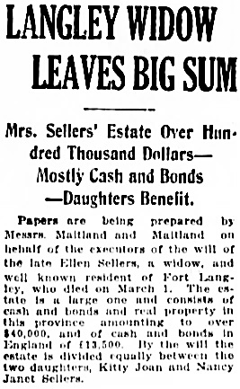 Vancouver Daily World, March 22, 1922, page 1, column 1.