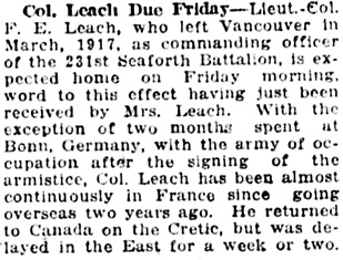 Vancouver Daily World, April 9, 1919, page 11, column 3.