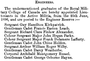 Canada Gazette, September 5, 1896, page 439, Reserve Officers, https://books.google.ca/books?id=BxM-AQAAMAAJ&pg=PA439&lpg#v=onepage&q&f=false.