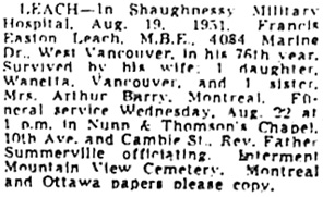Francis Easton Leach, death notice, Vancouver Sun, August 21, 1951, page 19.