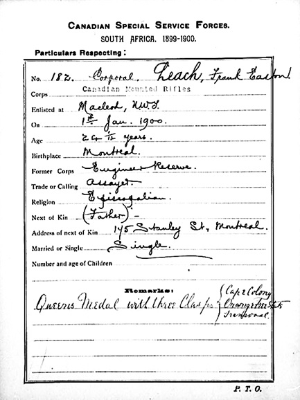 Frank Easton Leach; Canadian Special Service Forces, Canadian Mounted Rifles, South Africa; http://www.bac-lac.gc.ca/eng/discover/military-heritage/south-african-war-1899-1902/Pages/item.aspx?IdNumber=10320&.
