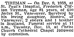 Vancouver Sun, December 12, 1955, page 34, column 4; https://news.google.com/newspapers?id=3TtlAAAAIBAJ&sjid=vYkNAAAAIBAJ&pg=1171%2C2438569 [link leads to column 3; death notice is in column 4]; same as Vancouver Province, December 12, 1955, page 32.