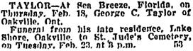 Toronto Globe, February 20, 1926, page 16, column 2.