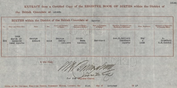 George Edward Sellers; birth register, British Consulate at Oporto, Portugal, http://central.bac-lac.gc.ca/.item/?op=pdf&app=CEF&id=B8772-S034.