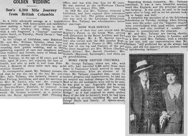 """""""Golden Wedding,"""" North Devon Journal (Barnstaple, England), August 29, 1935, page 5."""
