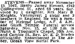 Vancouver Province, November 14, 1947, page 27; Vancouver Sun, November 14, 1947, page 23.