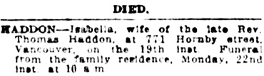 Vancouver Daily World, Saturday, April 20, 1912, page 23, column 2.