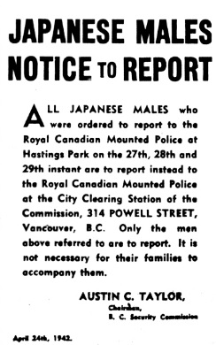 An April 24, 1942 newspaper notice ordering Japanese men to report to the RCMP at the Clearing Station of the B.C. Security Commission at 314 Powell Street; Vancouver Sun, http://www.vancouversun.com/news/photos+during+second+world/6278809/story.html.
