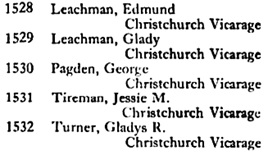 Ancestry.com. London, England, Electoral Registers, 1832-1965 [database on-line]. Provo, UT, USA: Ancestry.com Operations, Inc., 2010. Original data: Electoral Registers. London, England: London Metropolitan Archives. Name: Jessie M Tireman; Year: 1945; County or Borough: Lewisham; Ward or Division/Constituency: Lewisham.