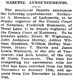The Chilliwack Progress, December 29, 1909, page 2, column 3.